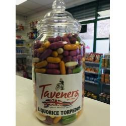 TAVENERS LIQUORICE TORPEDOS - RETRO SWEETS 200G