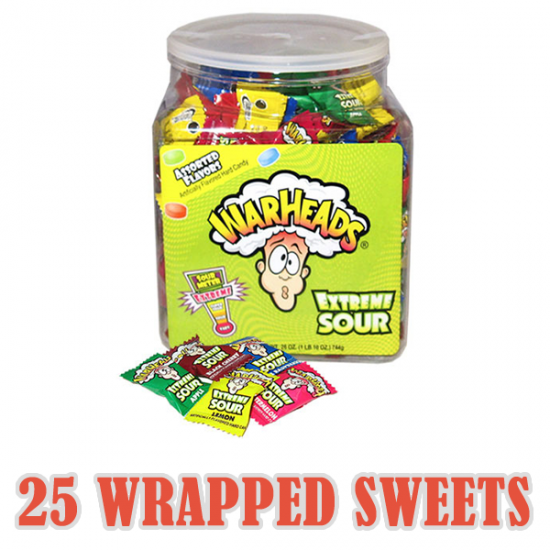 Warheads Extreme Sour Candy Sweets x 25 Wrapped Sweets