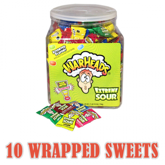 Warheads Extreme Sour Candy Sweets x 10 Wrapped Sweets